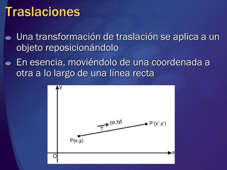Traslaciones Una transformación de traslación se aplica a un objeto reposicionándolo.