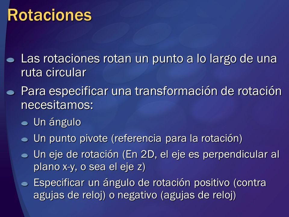 Rotaciones Las rotaciones rotan un punto a lo largo de una ruta circular. Para especificar una transformación de rotación necesitamos: