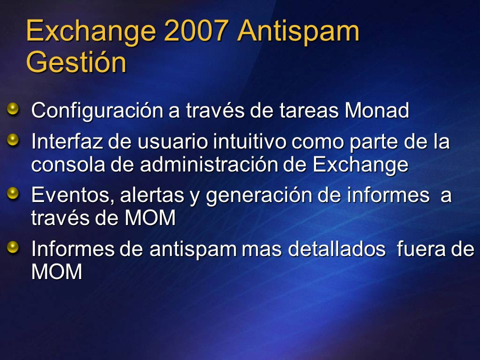 Exchange 2007 Antispam Gestión