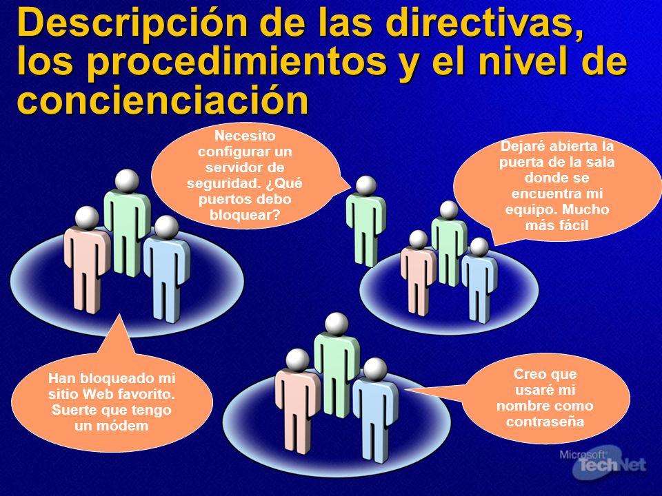 Descripción de las directivas, los procedimientos y el nivel de concienciación