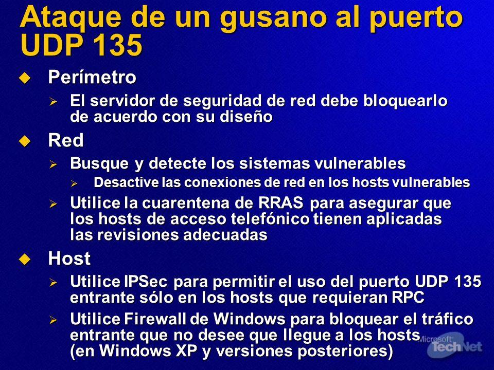 Ataque de un gusano al puerto UDP 135