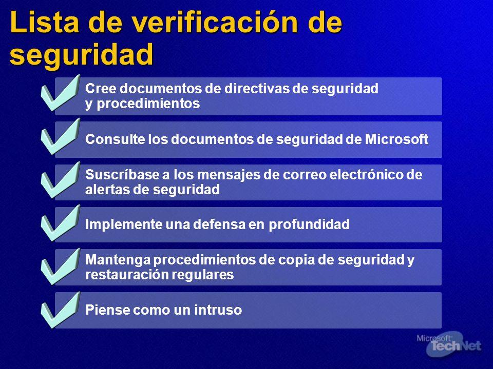 Lista de verificación de seguridad