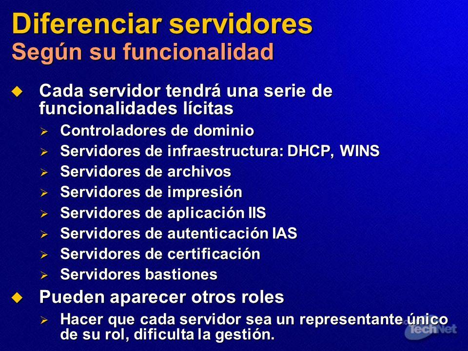 Diferenciar servidores Según su funcionalidad