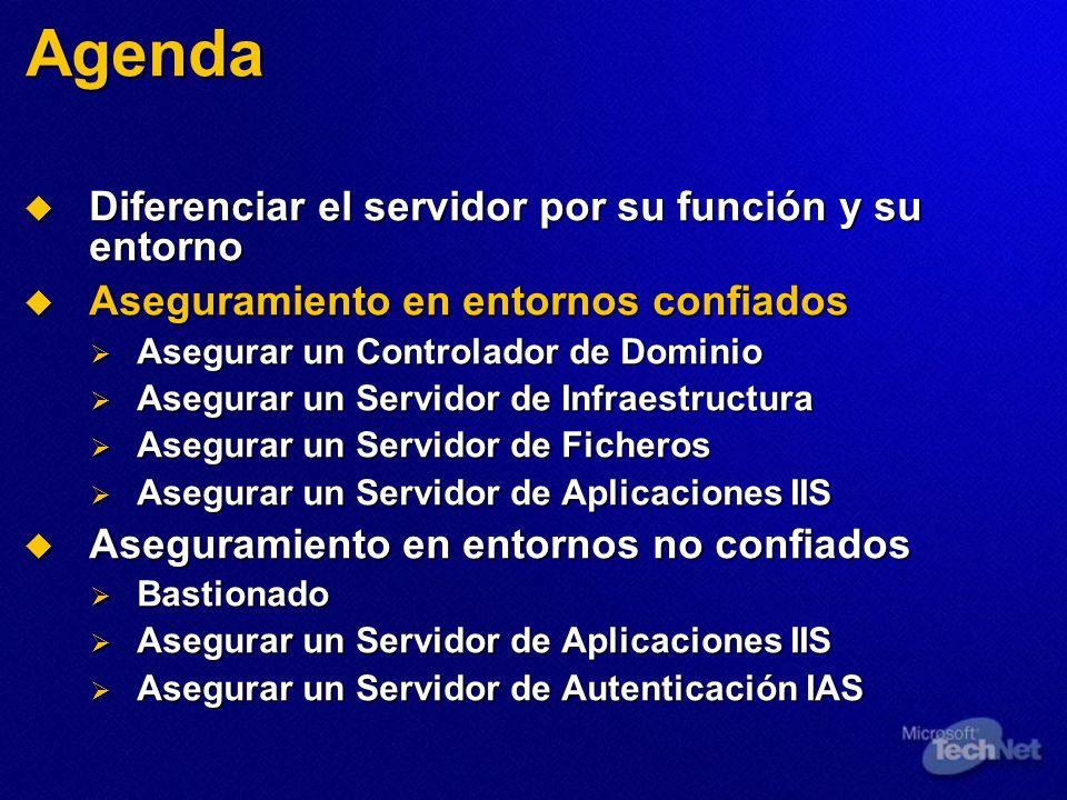 Agenda Diferenciar el servidor por su función y su entorno