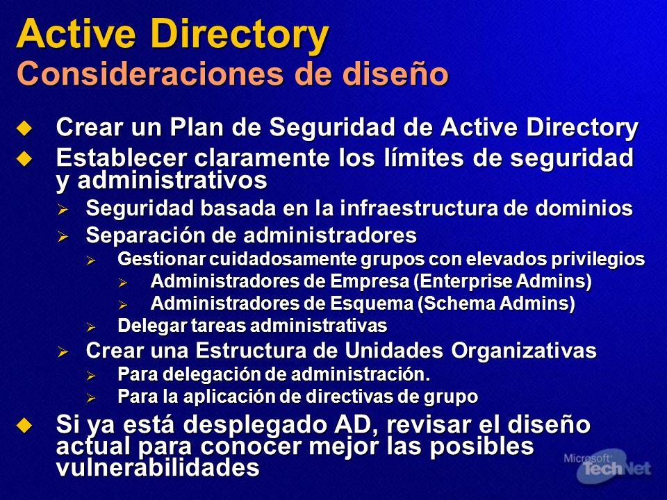 Active Directory Consideraciones de diseño