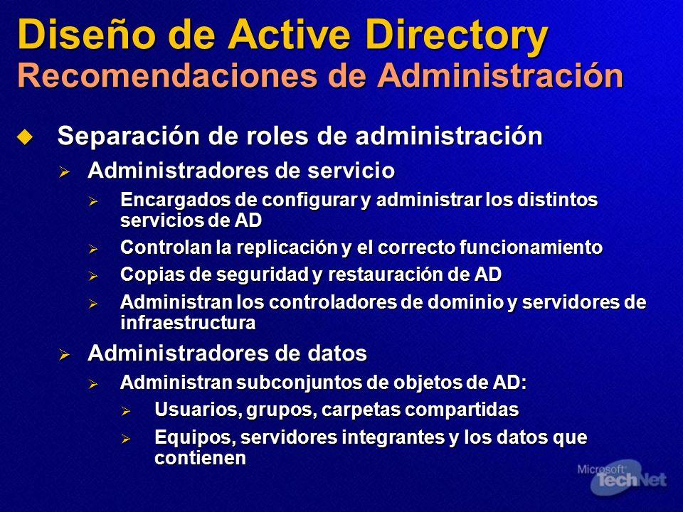 Diseño de Active Directory Recomendaciones de Administración
