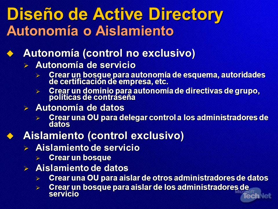 Diseño de Active Directory Autonomía o Aislamiento