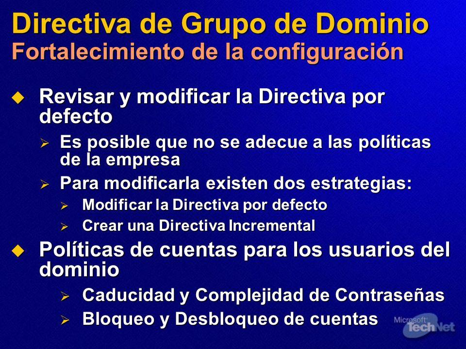 Directiva de Grupo de Dominio Fortalecimiento de la configuración
