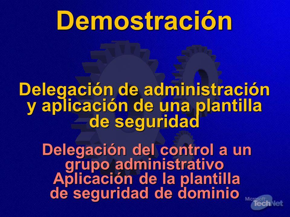 Demostración Delegación de administración y aplicación de una plantilla de seguridad Delegación del control a un grupo administrativo Aplicación de la plantilla de seguridad de dominio