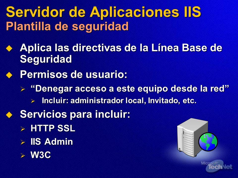 Servidor de Aplicaciones IIS Plantilla de seguridad