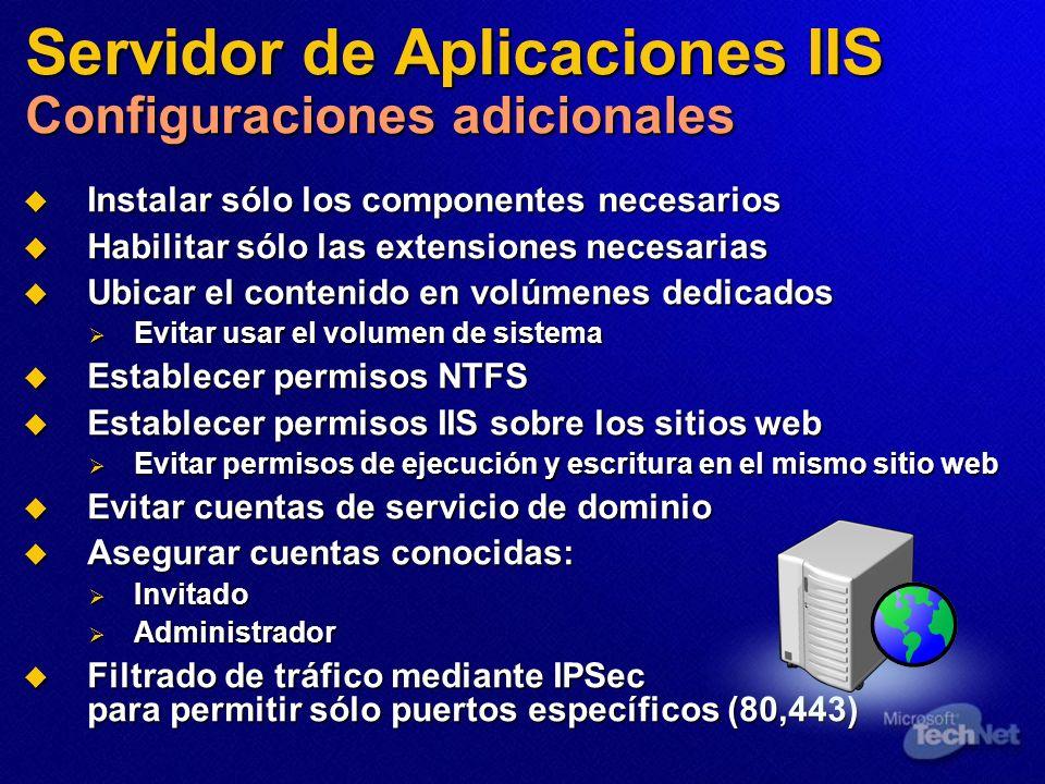 Servidor de Aplicaciones IIS Configuraciones adicionales