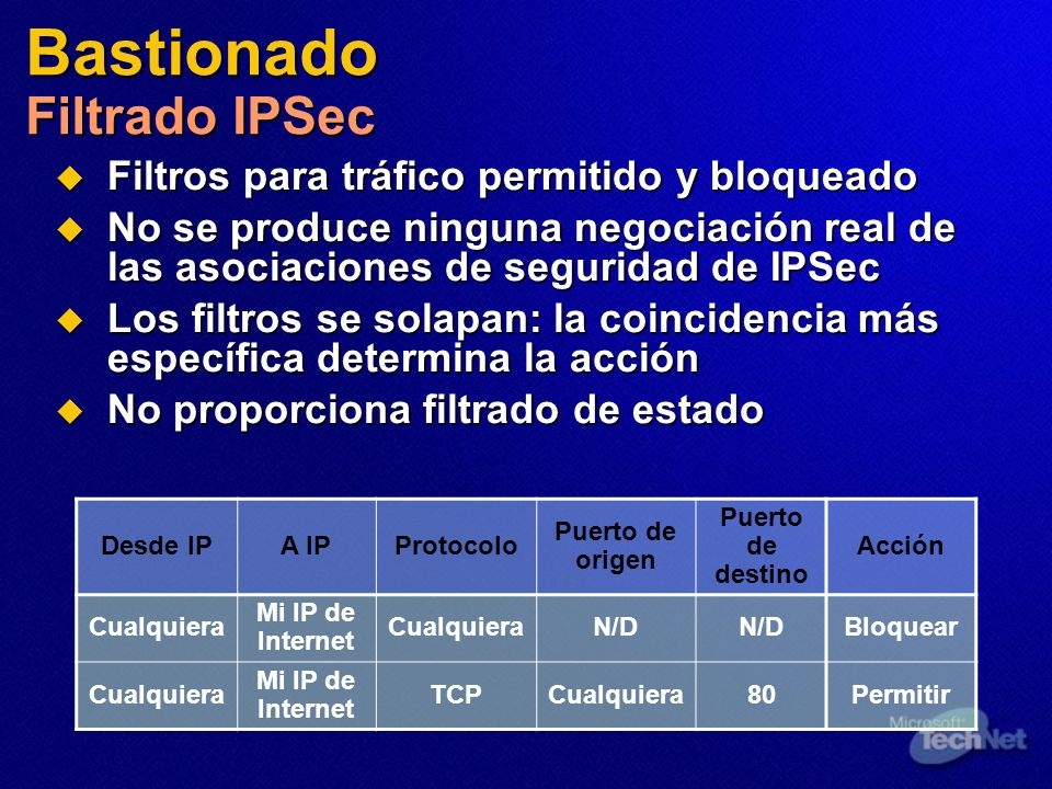 Bastionado Filtrado IPSec