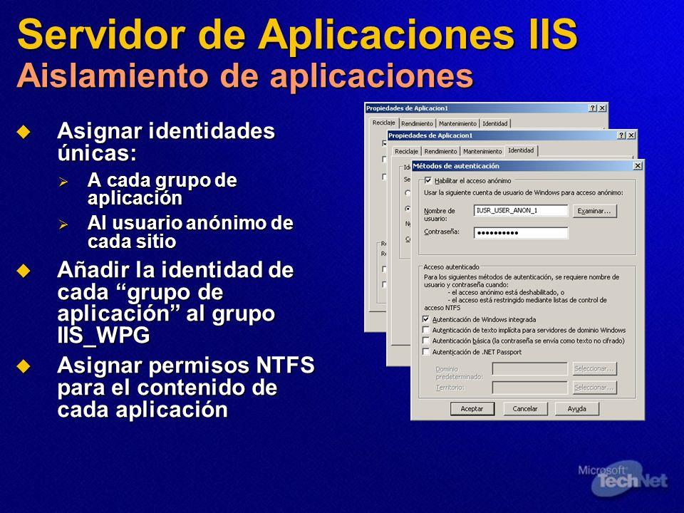 Servidor de Aplicaciones IIS Aislamiento de aplicaciones