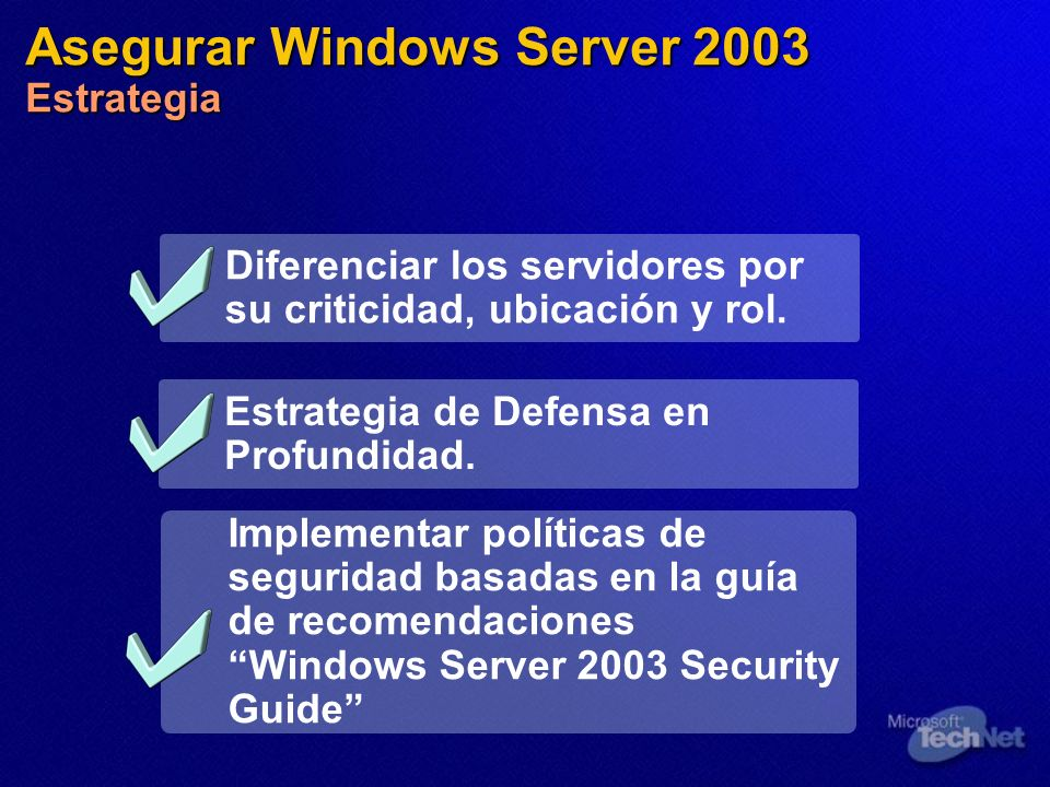 Asegurar Windows Server 2003 Estrategia