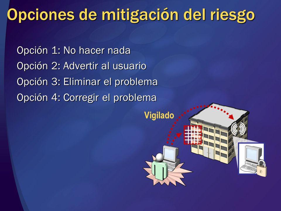 Opciones de mitigación del riesgo