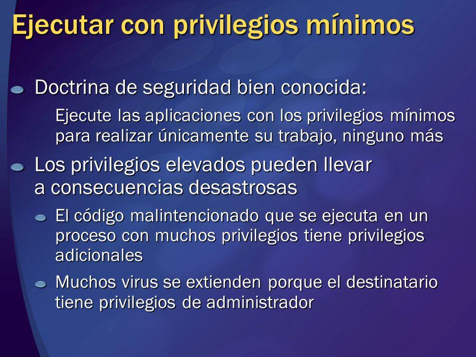 Ejecutar con privilegios mínimos