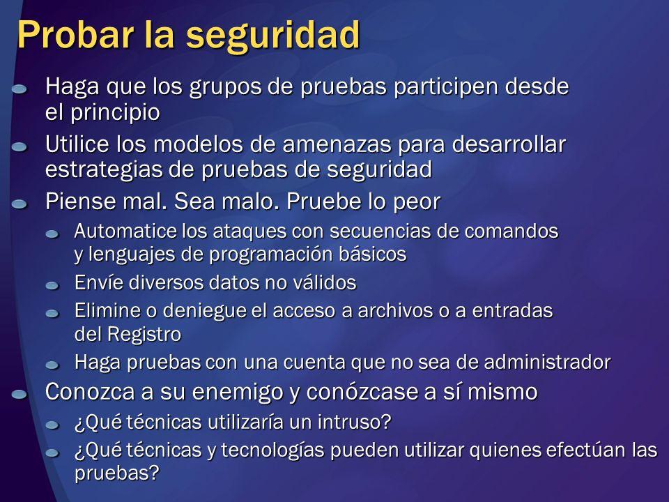 MGB 2003 Probar la seguridad. Haga que los grupos de pruebas participen desde el principio.