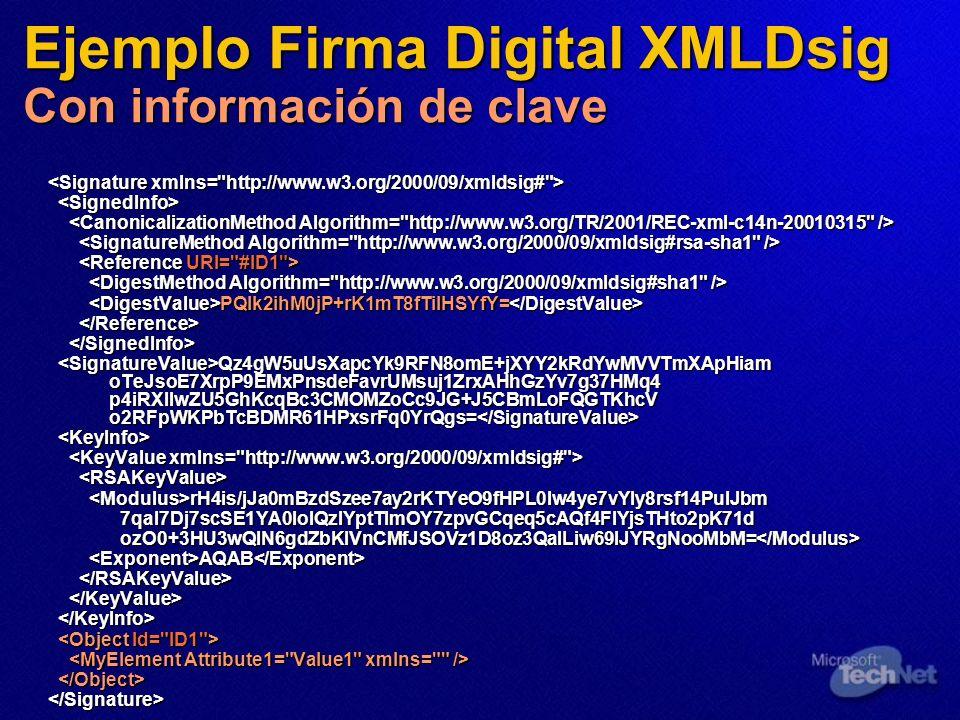 Ejemplo Firma Digital XMLDsig Con información de clave