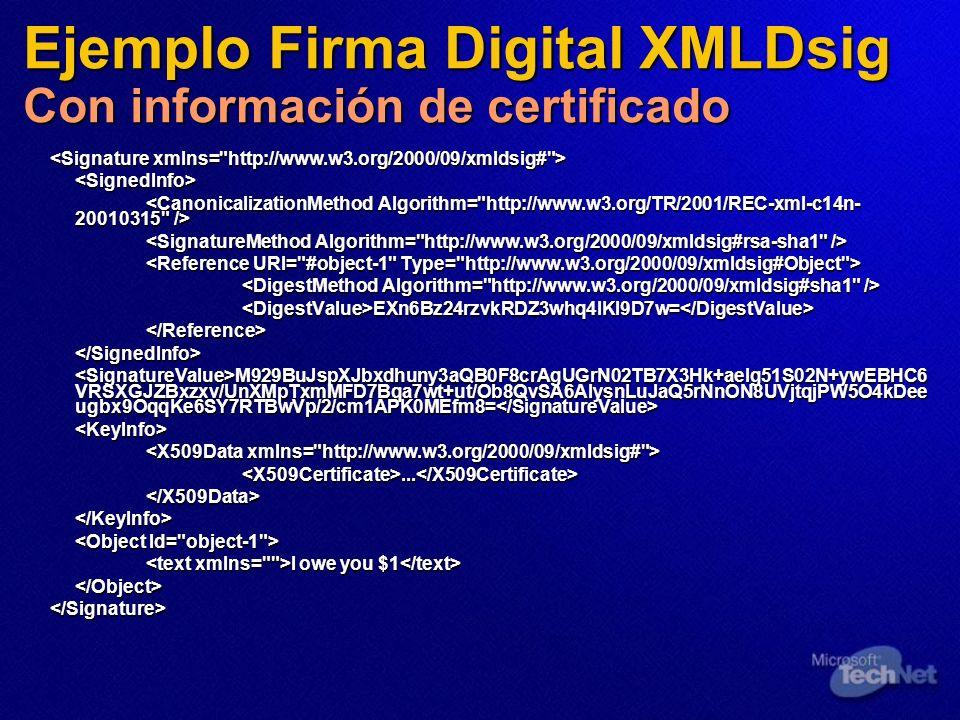Ejemplo Firma Digital XMLDsig Con información de certificado