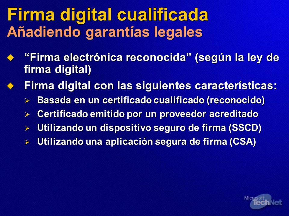 Firma digital cualificada Añadiendo garantías legales