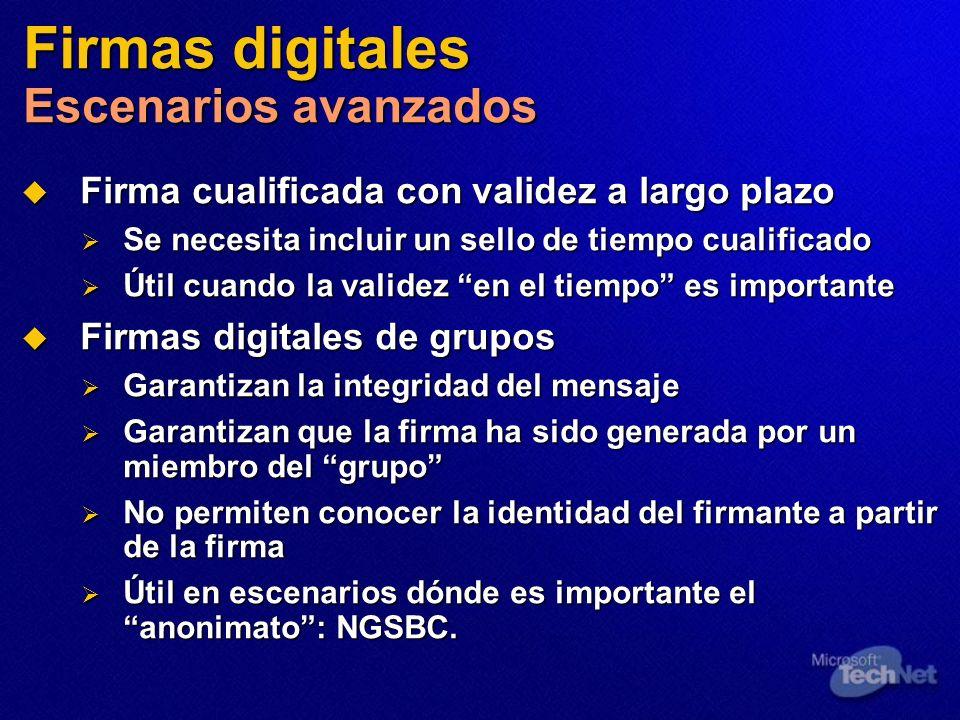 Firmas digitales Escenarios avanzados