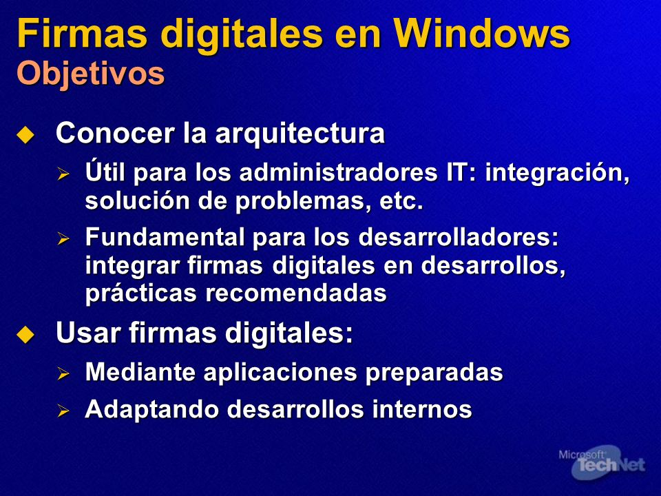 Firmas digitales en Windows Objetivos