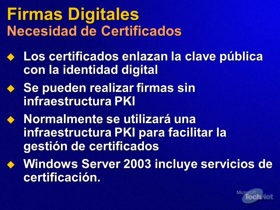 Firmas Digitales Necesidad de Certificados