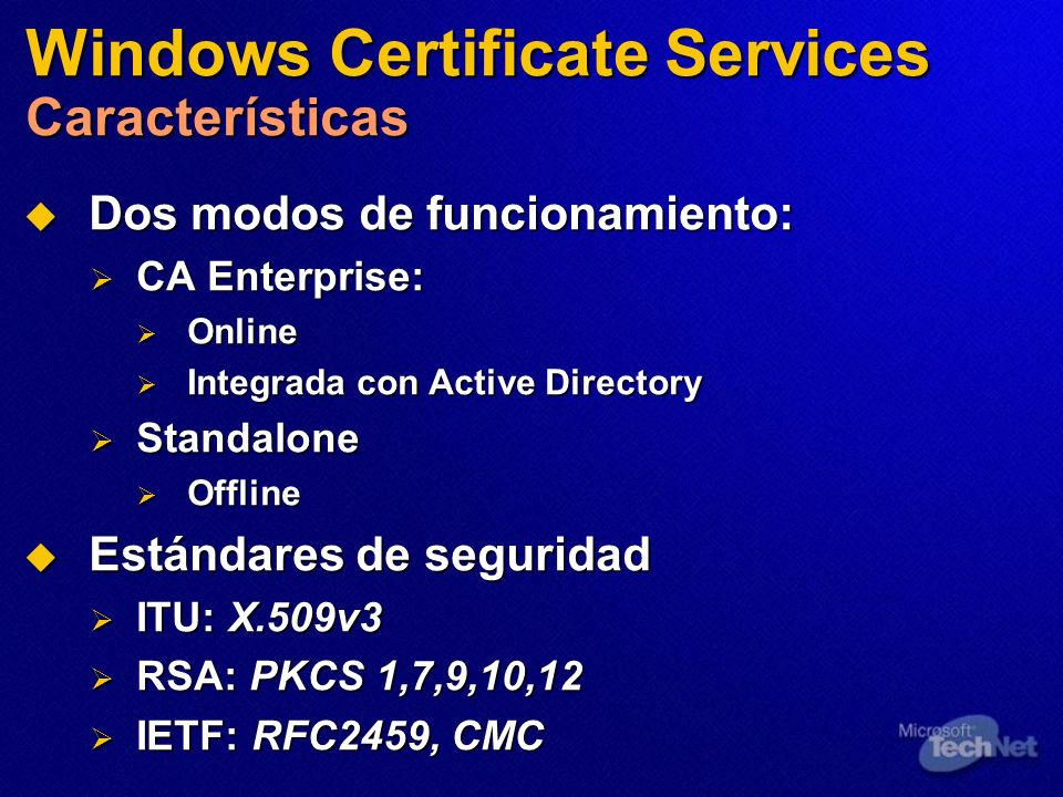 Windows Certificate Services Características