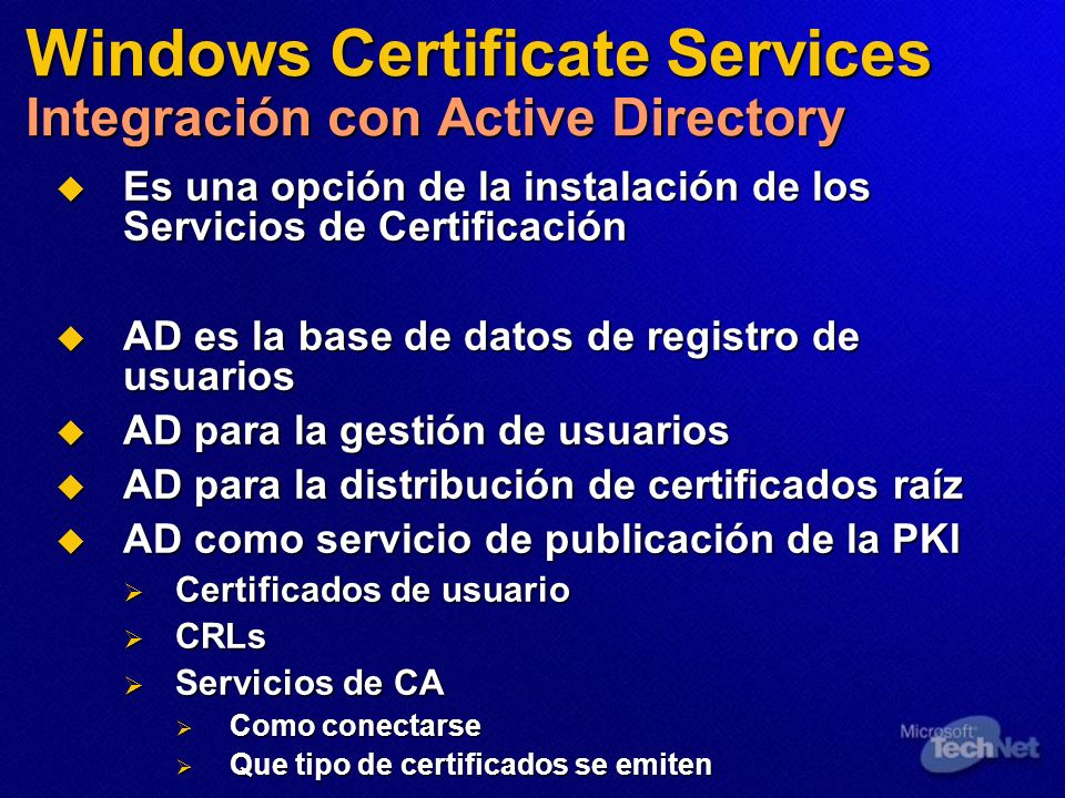 Windows Certificate Services Integración con Active Directory