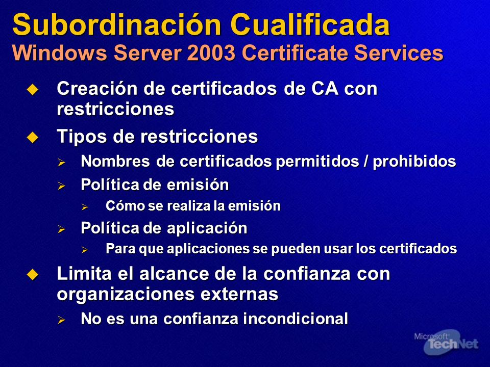 Subordinación Cualificada Windows Server 2003 Certificate Services