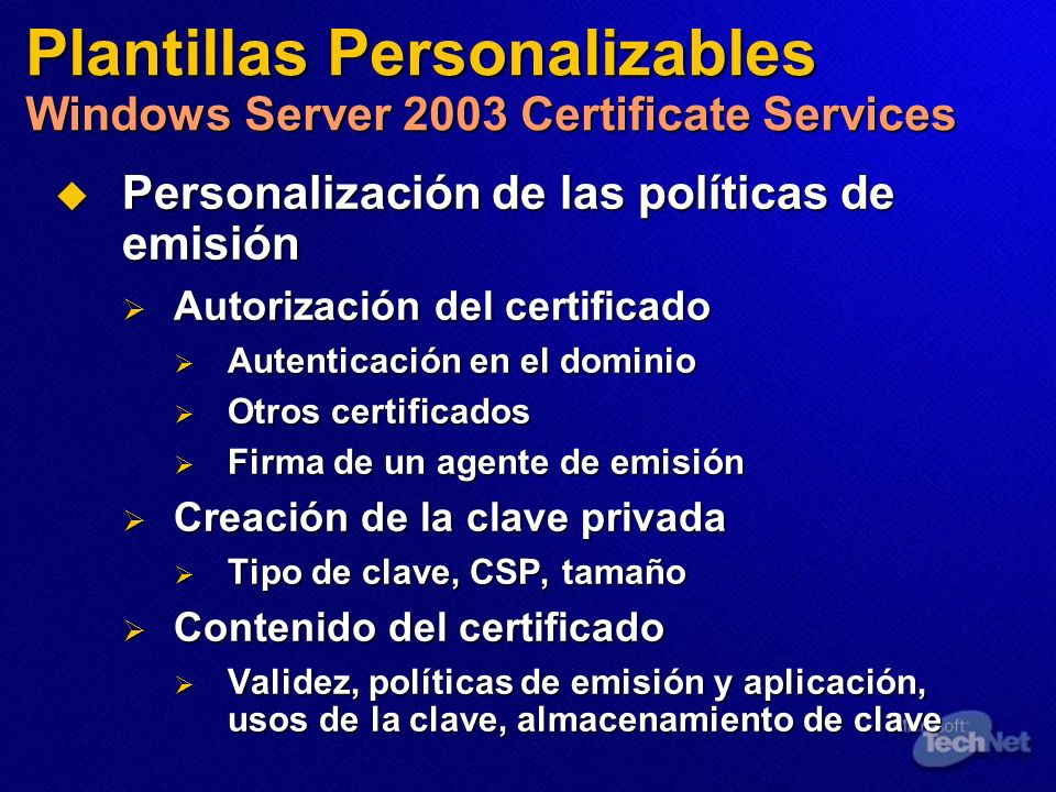 Plantillas Personalizables Windows Server 2003 Certificate Services