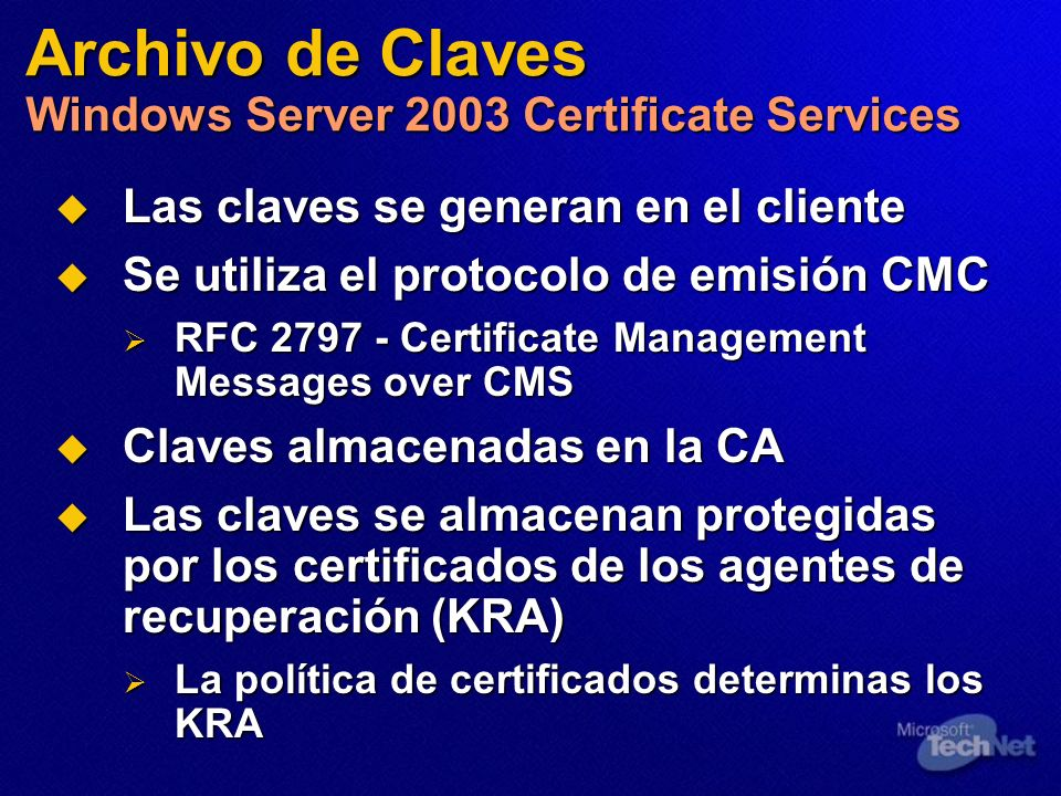 Archivo de Claves Windows Server 2003 Certificate Services