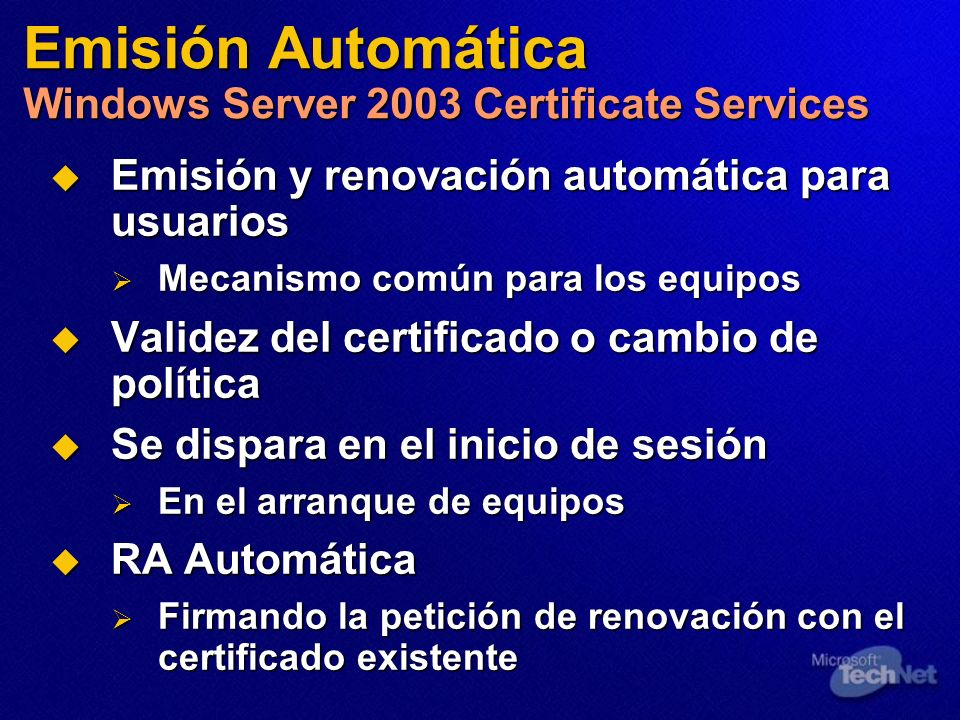 Emisión Automática Windows Server 2003 Certificate Services