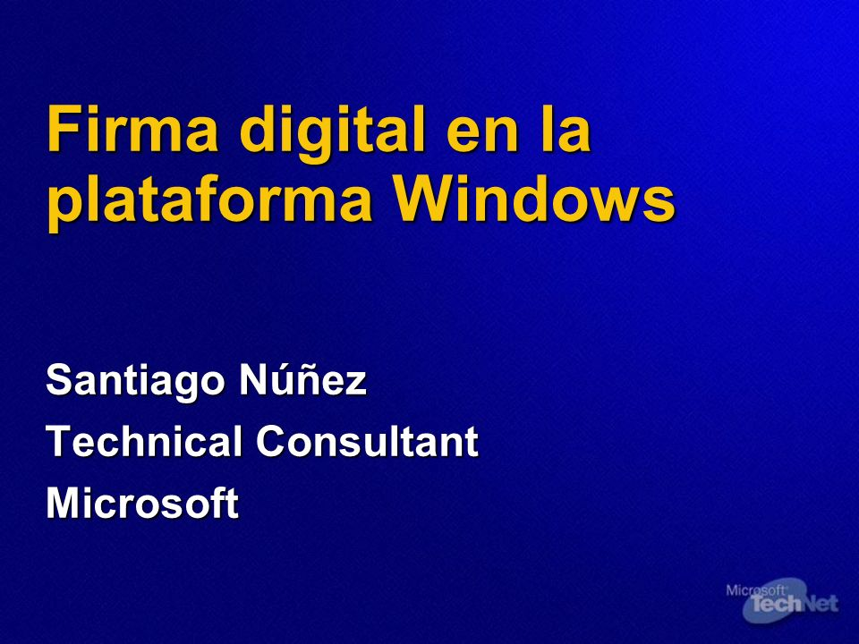 Firma digital en la plataforma Windows