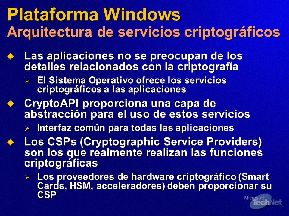 Plataforma Windows Arquitectura de servicios criptográficos