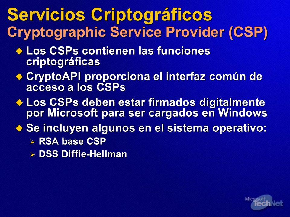 Servicios Criptográficos Cryptographic Service Provider (CSP)