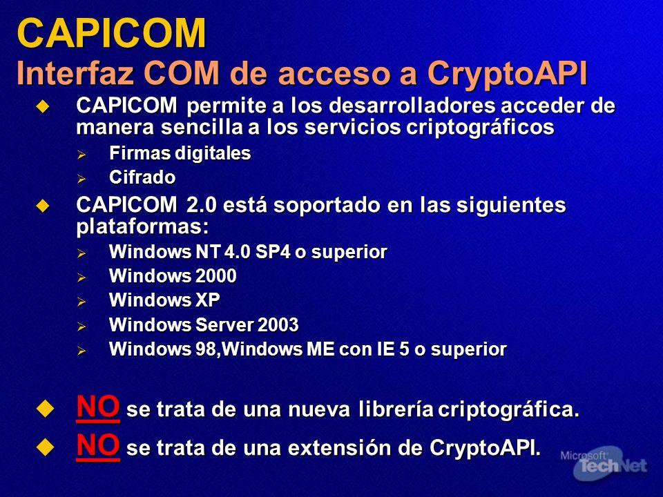 CAPICOM Interfaz COM de acceso a CryptoAPI