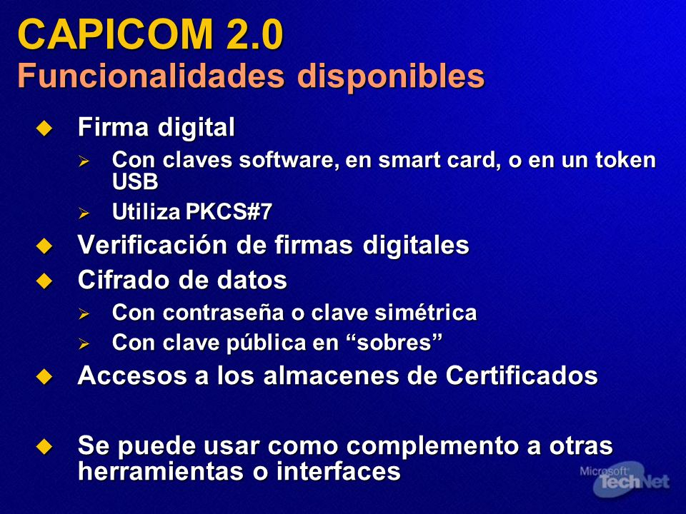 CAPICOM 2.0 Funcionalidades disponibles