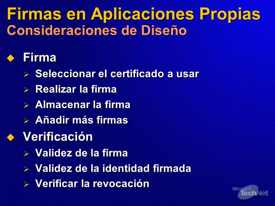 Firmas en Aplicaciones Propias Consideraciones de Diseño