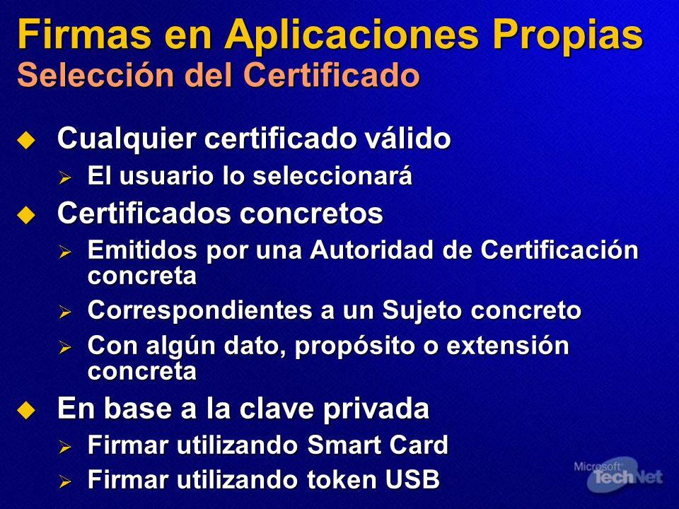 Firmas en Aplicaciones Propias Selección del Certificado