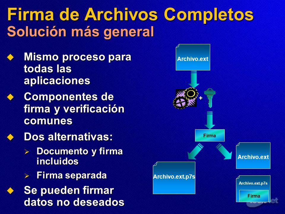 Firma de Archivos Completos Solución más general