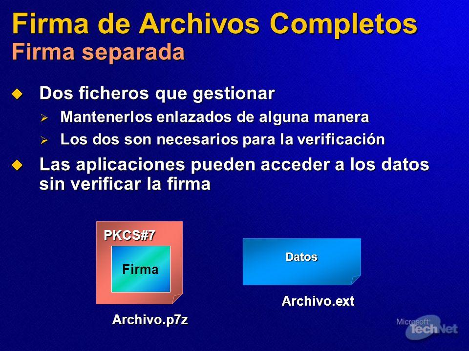 Firma de Archivos Completos Firma separada