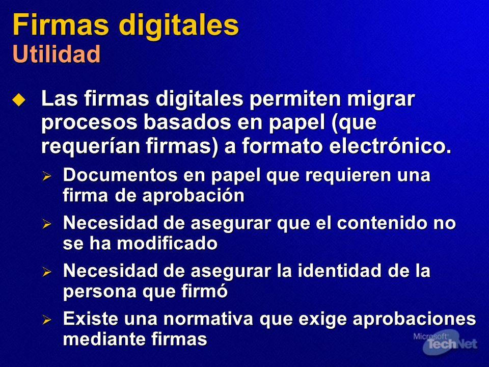 Firmas digitales Utilidad