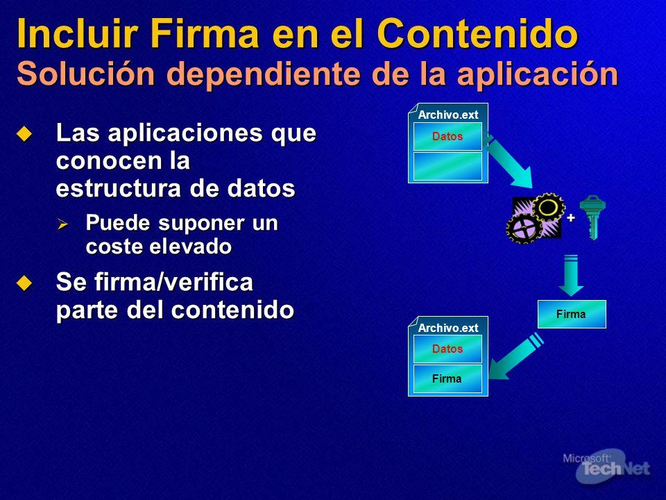 Incluir Firma en el Contenido Solución dependiente de la aplicación