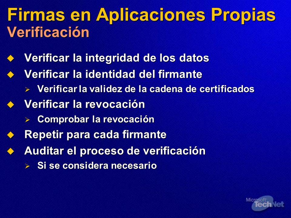 Firmas en Aplicaciones Propias Verificación