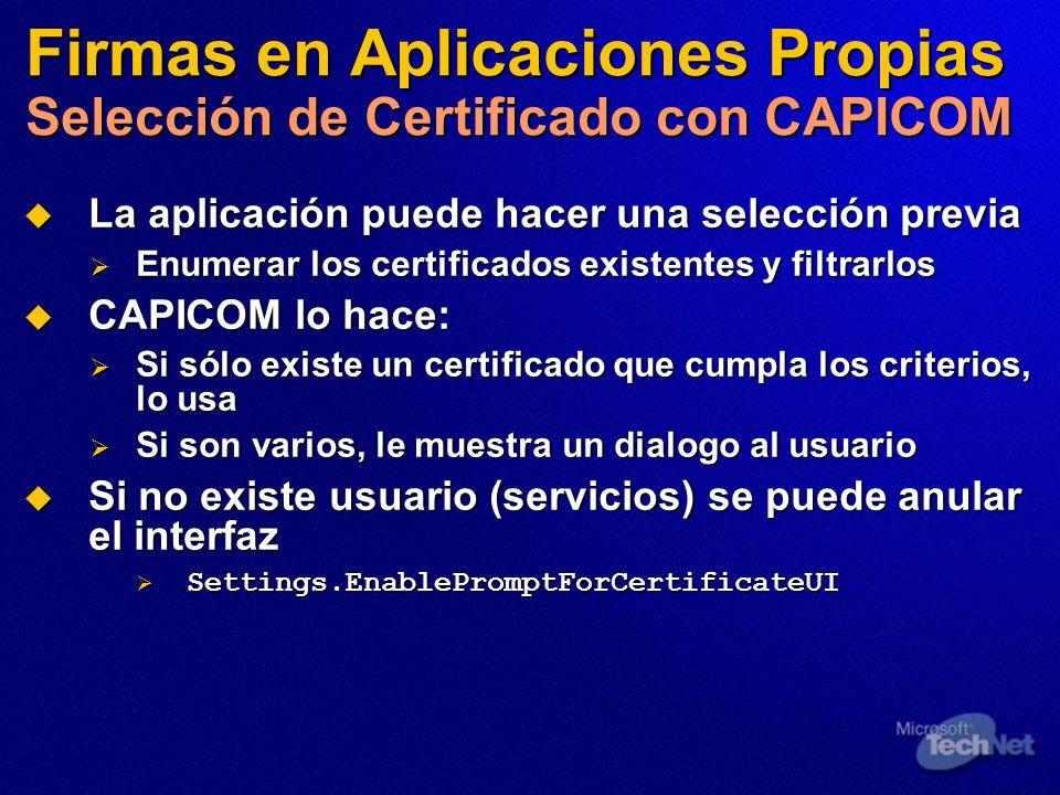 Firmas en Aplicaciones Propias Selección de Certificado con CAPICOM