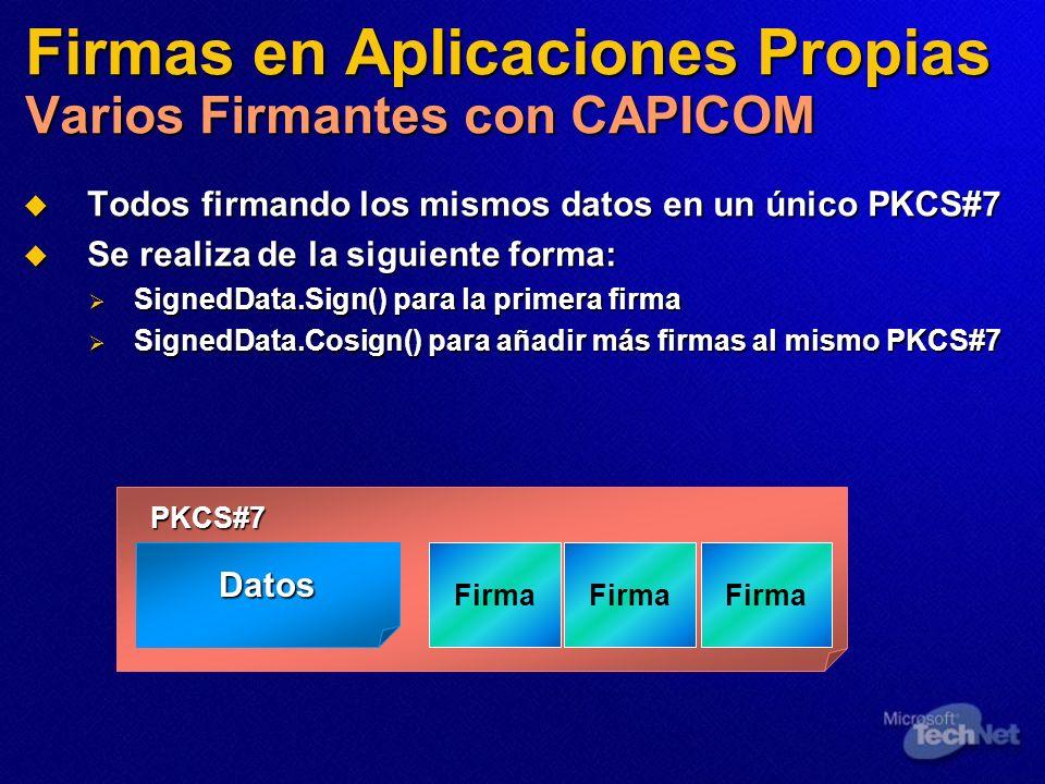 Firmas en Aplicaciones Propias Varios Firmantes con CAPICOM