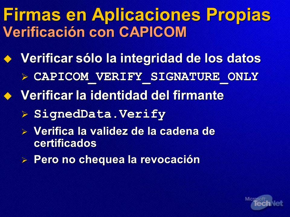 Firmas en Aplicaciones Propias Verificación con CAPICOM