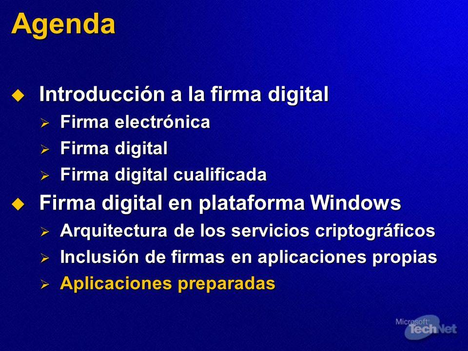 Agenda Introducción a la firma digital