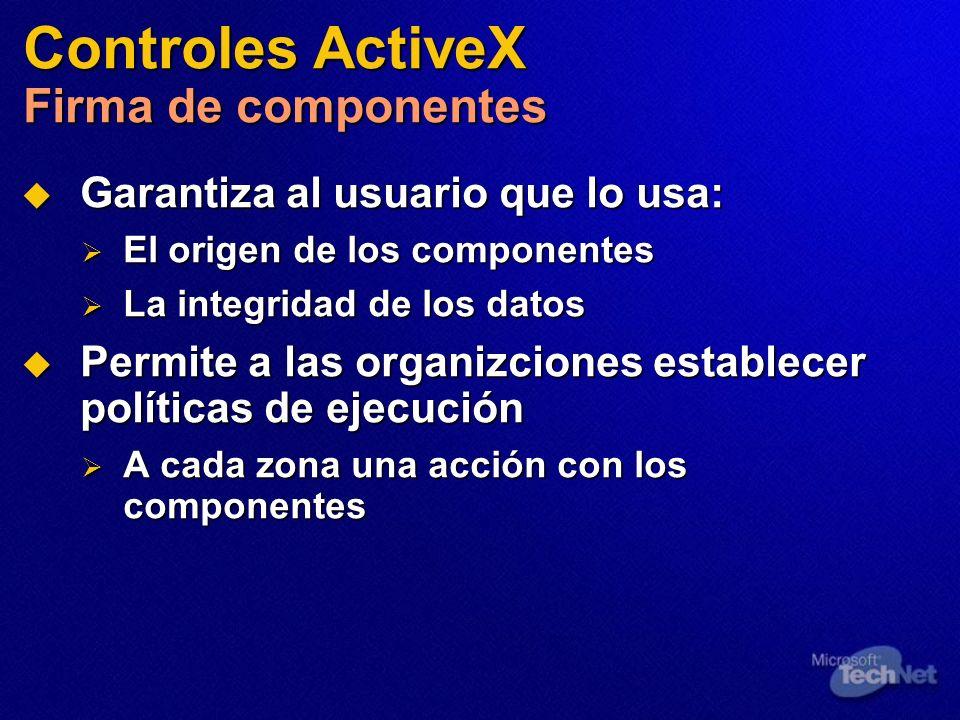 Controles ActiveX Firma de componentes